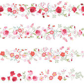 Endless horizontal borders with cute red and pink roses Seamless pattern brushes For romantic and wedding design announcements greeting cards posters advertisement