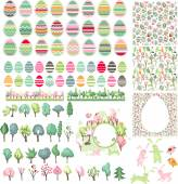 Big collection with easter eggs  and spring trees