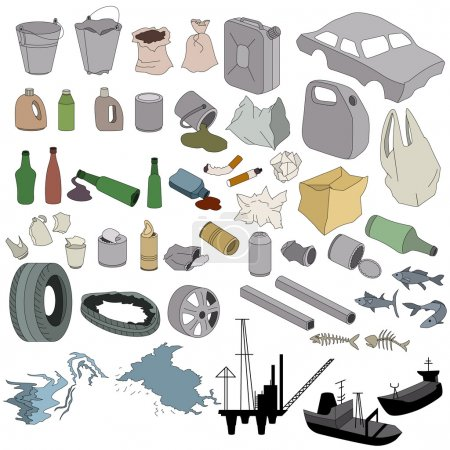 Different kinds of garbage isolated