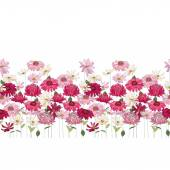 Seamless pattern brush with herbs daisygerbera and other flowers Endless horizontal texture