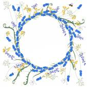 Detailed contour wreath with muscari and primrose flowers isolated on white Round frame for your design greeting cards announcements posters