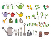 Set with seeds garden tools and equipment For your design announcements postcards posters
