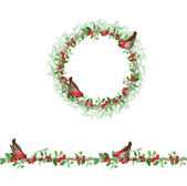 Christmas template with bullfinches and red beries Round frame with fir branches