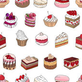 Seamless pattern wit different kinds of dessert Endless texture for your design announcements postcards posters restaurant menu