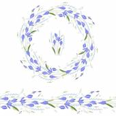 Floral round garland and endless pattern brush made of blue crocuses Flowers for romantic and easter design decoration  greeting cards posters advertisement
