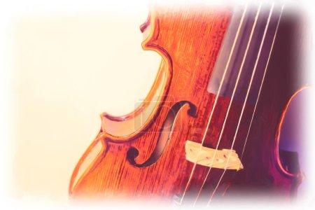 Photo pour Peinture à l'huile numérique de vieux violon - image libre de droit
