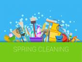 Spring cleaning composition background Set of cleaning supplies