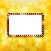 Golden retro frame with light bulbs on golden background. Advert