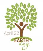 Earth Day greeting with abstract tree as human figure and leaves