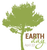 Earth Day greeting with abstract tree