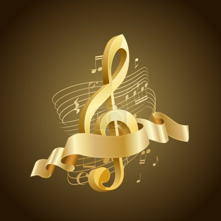 golden musical treble clef with abstract lines and notes, ribbon