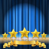 Blue curtain theater background and a row of golden realistic stars with reflection