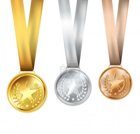 Illustration for Set of medals with stars - Royalty Free Image