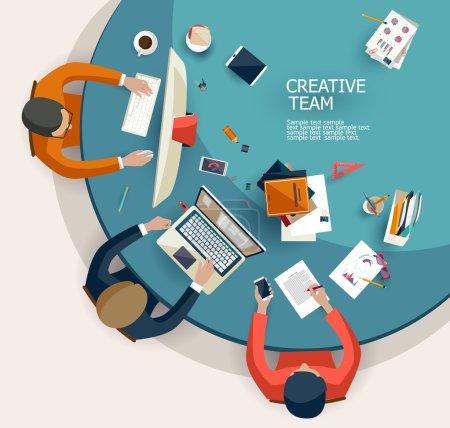 Illustration pour Réunion d'affaires et brainstorming. Conception plate. - image libre de droit
