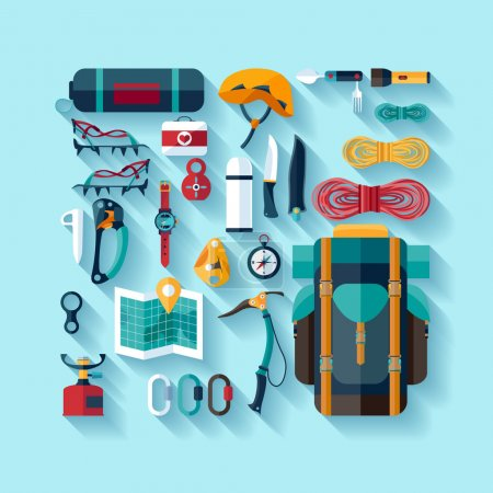 Illustration for Set of equipment for mountaineering. - Royalty Free Image