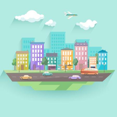 Illustration for Urban landscape. Flat design. - Royalty Free Image