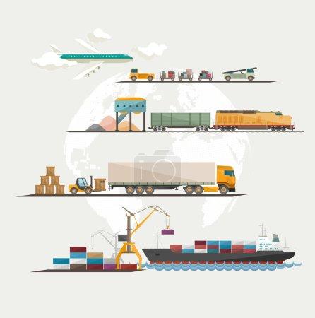 Illustration pour Transport mondial de marchandises. Conception plate . - image libre de droit