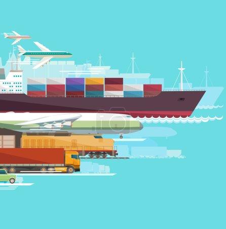 Illustration for Global transportation. Flat design. - Royalty Free Image