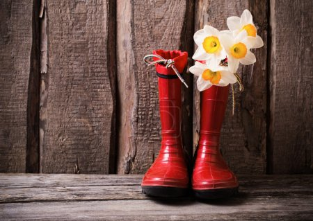 Photo for Red child garden shoes with spring flowers - Royalty Free Image