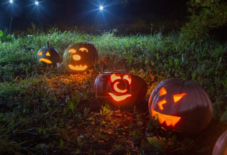 Halloween Jack-o-Lantern pumpkins outdoor