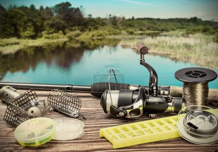 Fishing tackle on pontoon