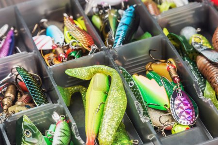 Fishing lures and accessories in box