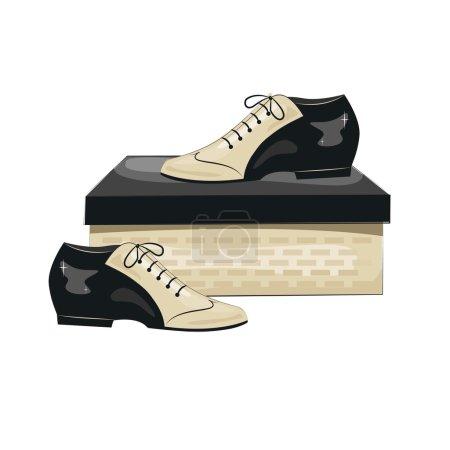 Elegant men's shoes on box.