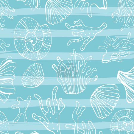 Sea shells, seastars and corals seamless background. Blue and white seamless pattern for coloring book, textile, print, wallpaper. Sea life pattern.