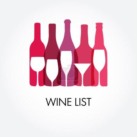Illustration pour Modèles de conception de carte des vins avec différentes bouteilles de vin et verres. - image libre de droit