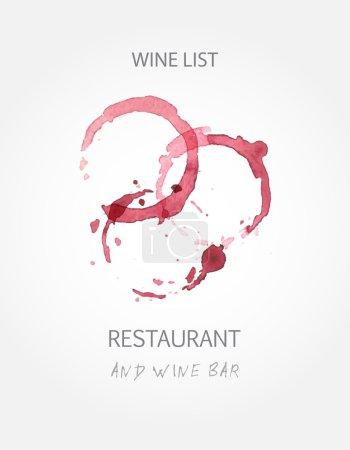 Illustration pour Modèles de conception de carte des vins avec des taches de vin rouge. Illustration vectorielle - image libre de droit