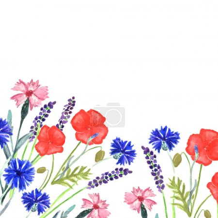 Watercolor painted wedding invitation. Cornflower, lavender, sweet pea  and poppy flowers pattern