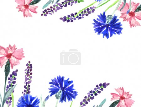 Watercolor painted floral background. Cornflower, lavender, sweet pea  and poppy flowers pattern.
