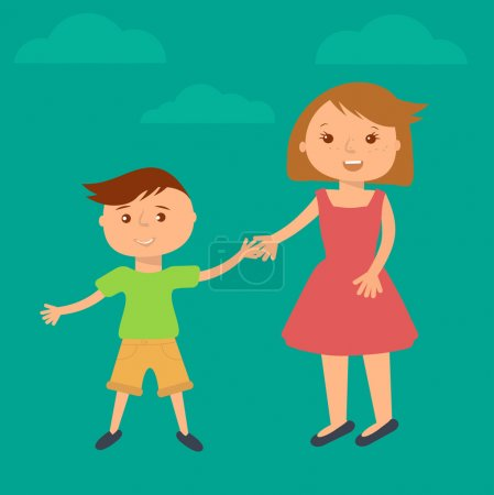 Happy family illustration. Brother and sister portrait in flat style. Boy and girl holding hands