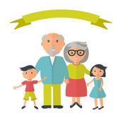 Senior grandparents with their grandchilds People family concept Flat style vector Grandparent day illustration