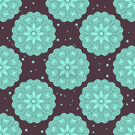 Ethnic seamless pattern with large mandalas