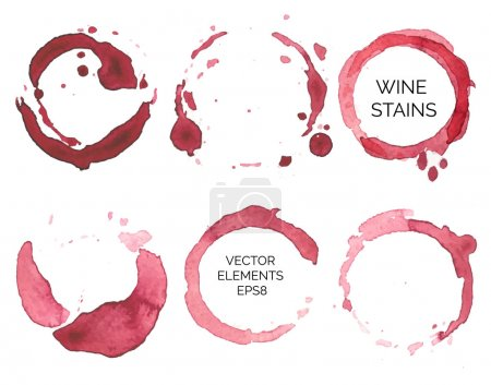 Illustration for Vector set of watercolor painted wine stains on  white background - Royalty Free Image