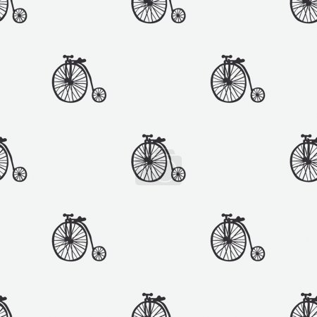 Hand drawn bicycles vector seamless pattern