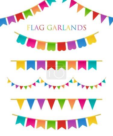 Ilustración de Ilustración vectorial de guirnaldas coloridas sobre fondo blanco. Colores del arco iris bollos y banderas. Conjunto de vacaciones. - Imagen libre de derechos