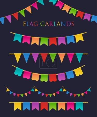 Ilustración de Vector ilustración de coloridas guirnaldas sobre fondo oscuro. Arco iris de colores empavesados y banderas. Sistema de vacaciones. - Imagen libre de derechos