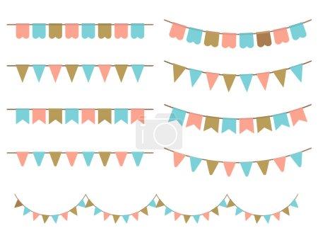 Ilustración de Ilustración vectorial de guirnaldas coloridas sobre fondo blanco. Colores rosa pastel, oro y menta buntings y banderas. Conjunto de vacaciones. - Imagen libre de derechos