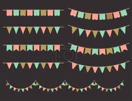 Ilustración de Ilustración vectorial de guirnaldas coloridas sobre fondo negro. Colores rosa pastel, oro y menta buntings y banderas. Conjunto de vacaciones. - Imagen libre de derechos