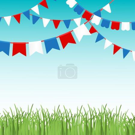 Ilustración de Ilustración vectorial de cielo azul y hierba verde landskape con banderas de colores guirnaldas. Banderas rojas, azules y blancas. Fondo de vacaciones con lugar para texto. - Imagen libre de derechos