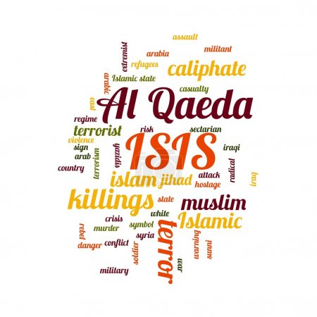 ISIS and Al Qaeda word cloud on white background....