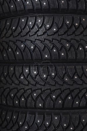 Photo for Black automobile tire background - Royalty Free Image
