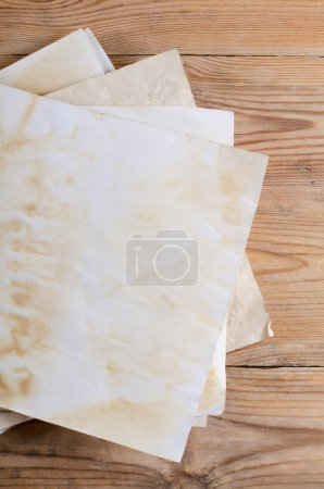 Old papers on table
