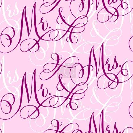 Illustration pour Modèle sans couture de mariage rose avec des mots traditionnels écrits à la main 'Mr. et Mme. . - image libre de droit