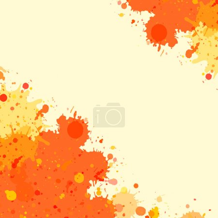 Illustration for Vibrant bright orange watercolor artistic splashes frame with room for text, square format. - Royalty Free Image