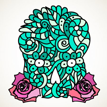 Illustration for Day of The Dead or Halloween light green doodle skull with floral ornament and two pink roses. - Royalty Free Image
