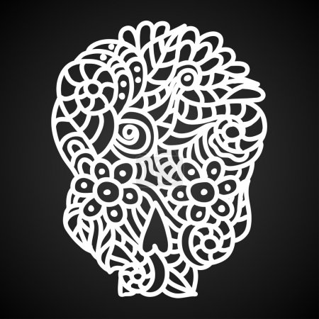 Illustration for Day of The Dead doodle skull with floral ornament in white over black background. - Royalty Free Image