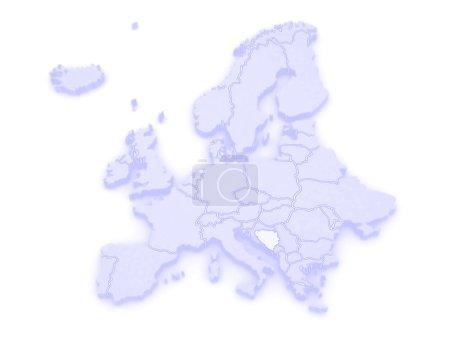 Map of Europe and Bosnia and Herzegovina.